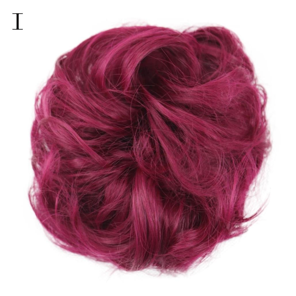 Black Wig,Chartsea Women's Curly Messy Bun Hair Twirl Piece Scrunchie Wigs Extensions Hairdressing (I)
