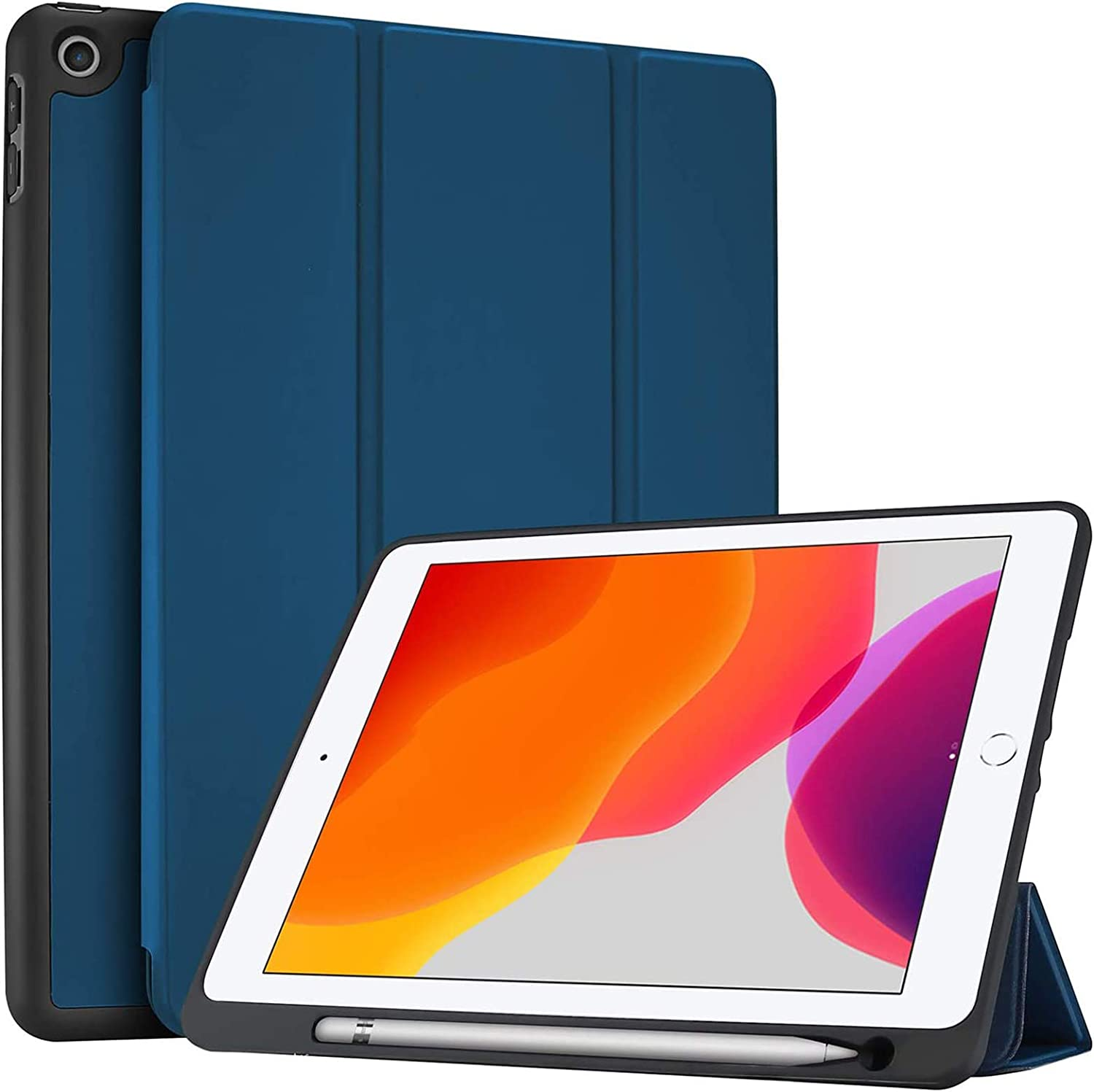 ProCase New iPad 10.2 Case (2020 8th Generation / 2019 7th Generation) with Pencil Holder and Flexible Soft TPU Back Cover, Slim Steady Stand Protective Case for 10.2