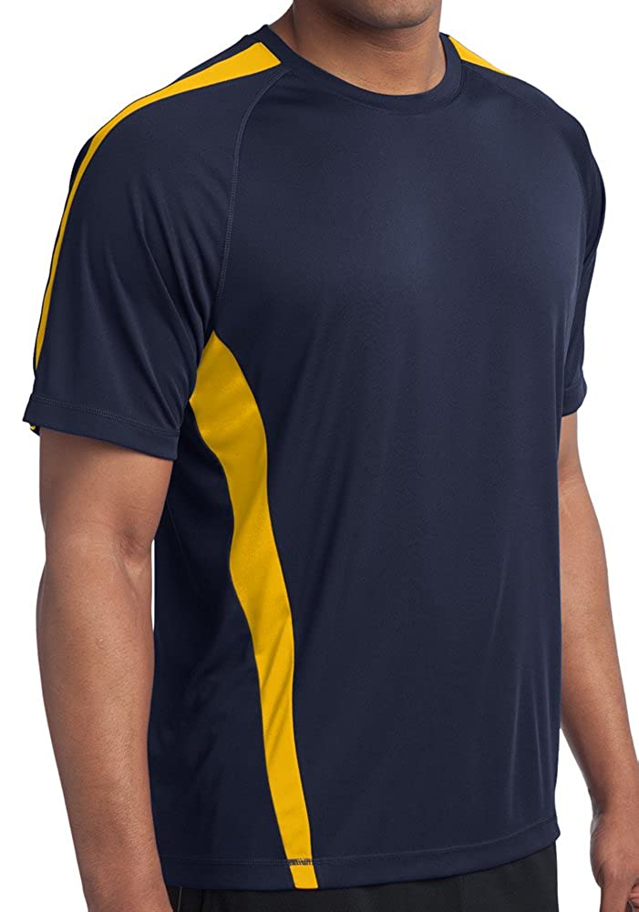 Yoga Clothing For You Tall Mens Sweat Control Performance Navy/Gold Shirt SAN-TST351-NVYGOLD