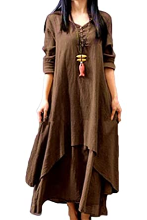 fe8f55fcf1c Women Cotton Linen Boho Dress Loose Vintage Plus Size Maxi Dresses Brown XS