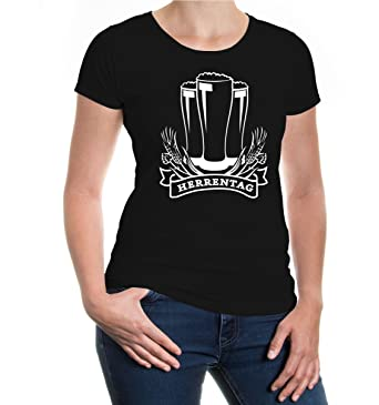 Girlie T-Shirt Herrentag-XS-Black-White
