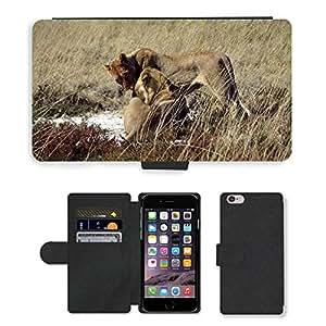 "PU LEATHER case coque housse smartphone Flip bag Cover protection // M00134629 Lion Safari Animales Afecto salvaje // Apple iPhone 6 PLUS 5.5"""
