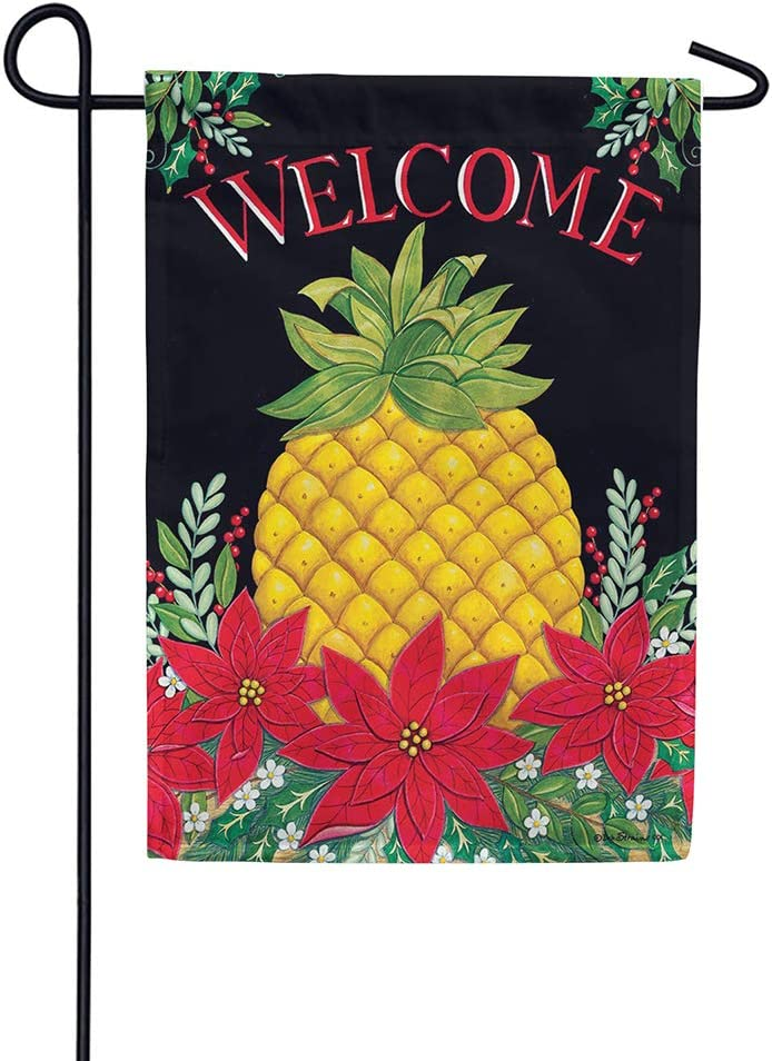 Christmas Pineapple - Welcome - GARDEN Size, 12 Inch X 18 Inch, Decorative Double Sided Flag Printed in USA - Copyright and Licensed, Trademarked by Custom Décor Inc.