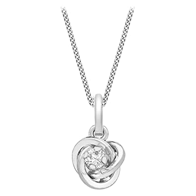 Carissima Gold Women's 9 ct White Gold Cubic Zirconia Pendant on Curb Chain Necklace CYgN0DRQv