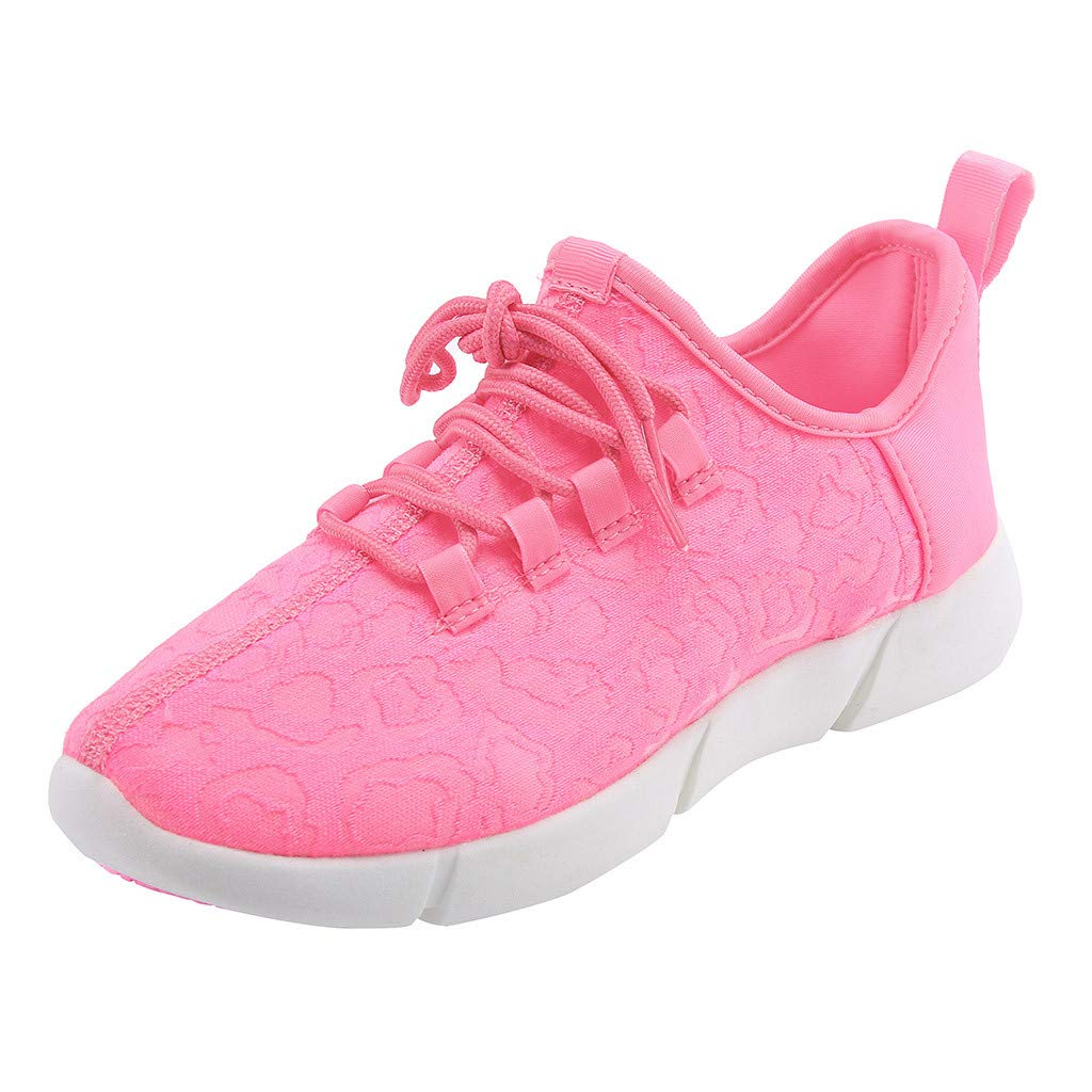 Unisex Quick Dry Breathable Sneakers, Casual Lace-Up Led Light Sports Shoes Colorful Flash Athletic Running Sneakers Shoes 5-10.5 (Pink, US:7.5)