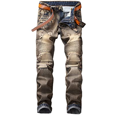 ONTBYB Men Ripped Holes Mid Rise Washed Jeans Shorts