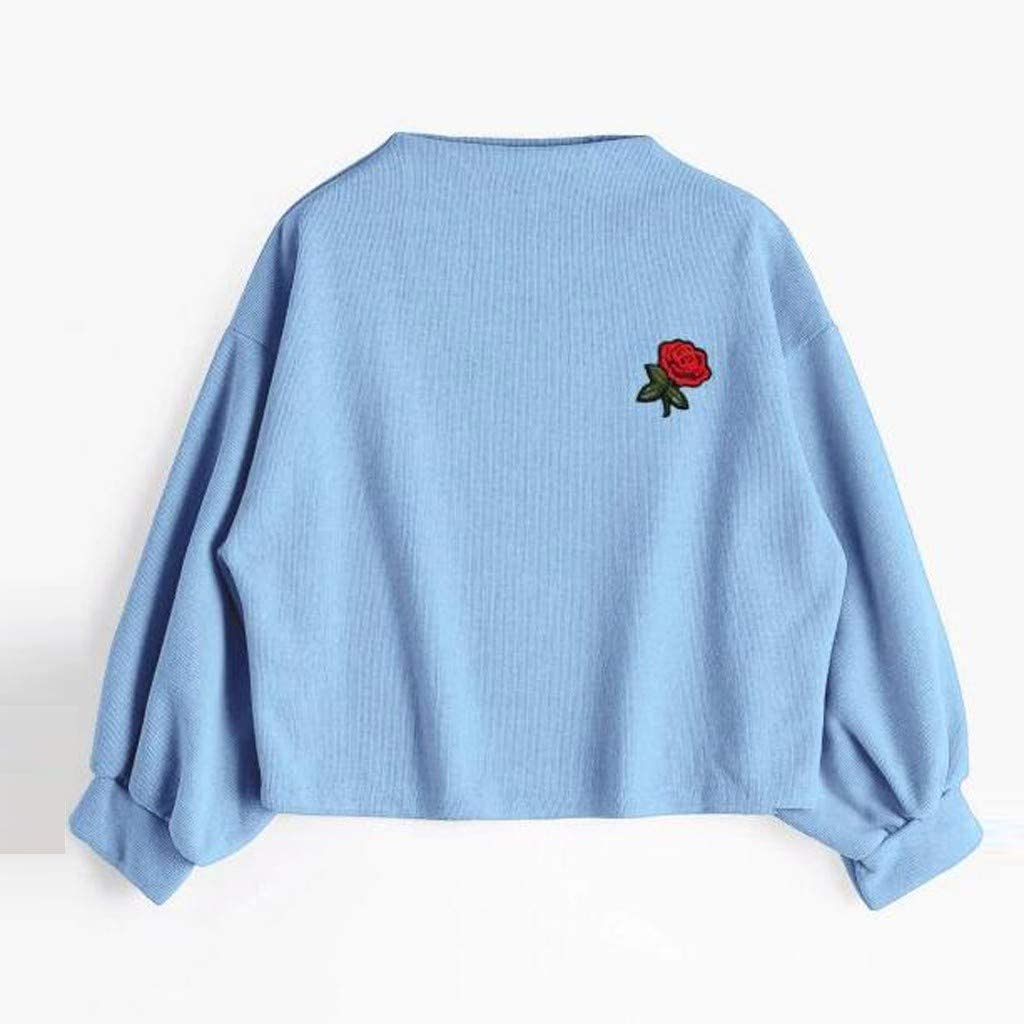 Womens Crew Neck Long Sleeve Top Floral Embroidered Lantern Sleeve Pullover Crop Top Sweatshirt