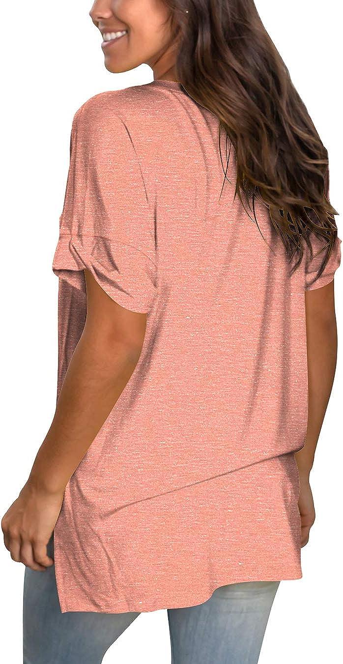 liher Womens Tshirts Casual V Neck Short Sleeve Loose Summer Tunic Tops