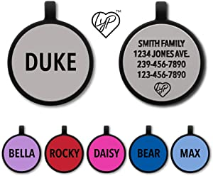 Love Your Pets Soundless Pet Tag - Deep Engraved Silicone – Double Sided and Engraving Will Last Choices of Pet ID Tags, Dog Tags, Cat Tags (Grey, Circle)