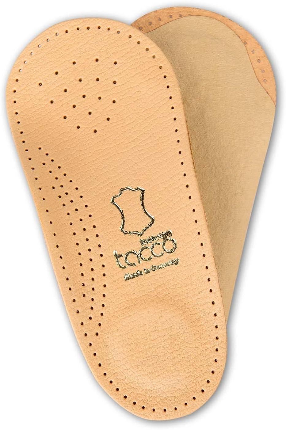 Plantillas Ortopédicas 3/4 para Calzado Tacco Elastic - Soporte Suave del Arco y Almohadillas Amortiguadoras - Cuero con Curtido Vegetal - Hechas en Alemania
