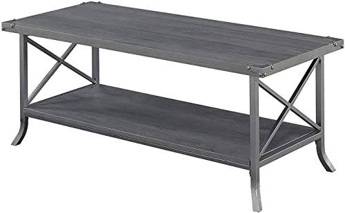 Convenience Concepts Brookline Coffee Table, Charcoal Gray Slate Gray Frame