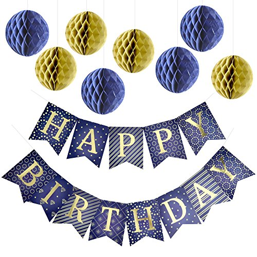 Enfy Happy Birthday Banner Party Decorations with 8 Tissue Paper Pom Pom Balls - Premium Quality Blue Bunting Banner With Shiny Gold Letters - Party Supplies - for Kids and Adults ()