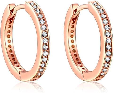 Sterling plaqué or rose double cercle boucles d/'oreille en Diamant