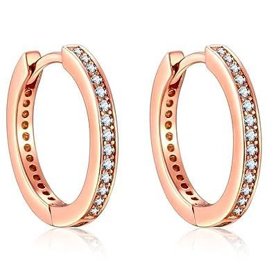 f43d01655b9c Presentski Pendientes de aro de plata de ley 925 oro rosa con circonita  cúbica imitación diamante pequeño creole bisagra regalo para madre niña   Amazon.es  ...