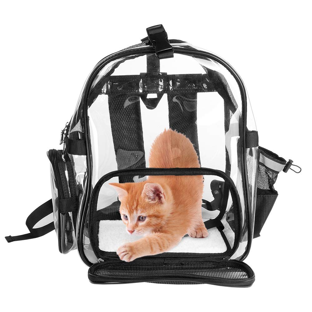 SlowTon Clear Pet Backpack, Transparent Cat Back Pack Carrier for Small Dog Kittens Breathable Mesh Window Travel Carrier Bag Weight Up to 10lbs for Puppies Kitty Travel Walking Hiking Camping