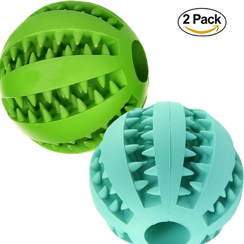 Aidle Interactive Dog Toys,Toy IQ Ball Non-Toxic Dog Chew Toy for Pet IQ Training/Playing/Chewing,Durable Feed Training Tooth Cleaning Ball with Safe Size 2.8'' (Blue+green)