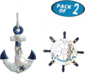 Originalidad 2 Pack Nautical Beach Wooden Ship Wheel and Wood Anchor with Rope Nautical Boat Steering Rudder Wall Decor Door Hanging Ornament Beach Theme Home Decoration