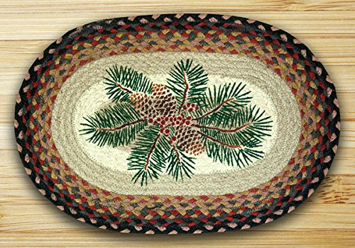 Pinecone Red Berry - 13in. x 19in. Pinecone & Red Berry Oval Placemat - Set of 4