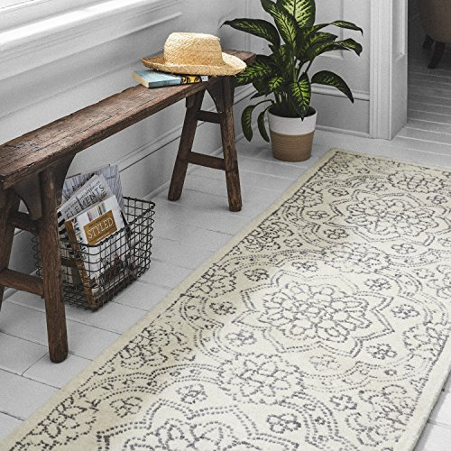 Stone Beam Contemporary Doily Wool Farmhouse Runner Rug, 2 6 x 8 , Ivory