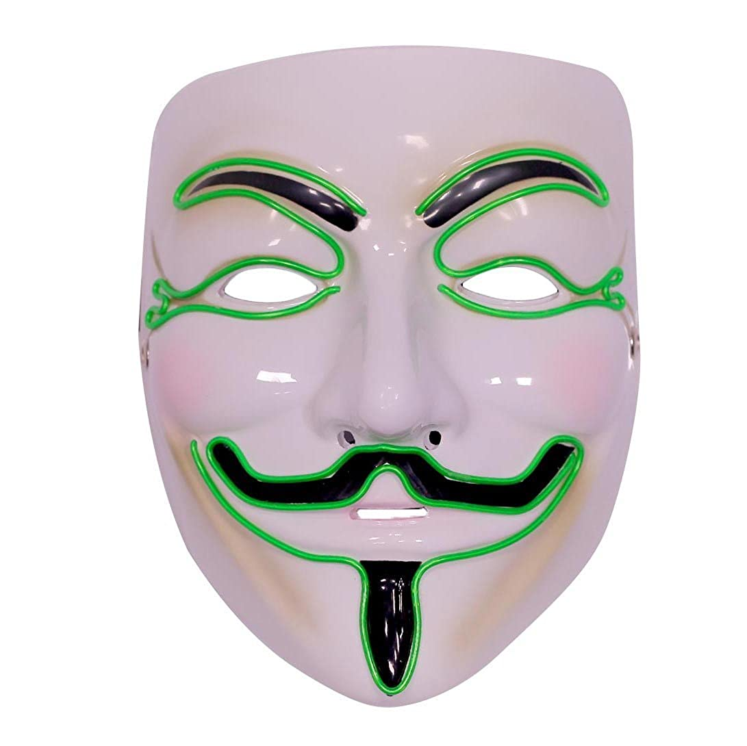 EmazingLights Costume Light Up Adult Masks - Guy Fawkes Anonymous Hacker Masks - 3 Awesome LED Modes Red Emazing Lights MJ-OF0003