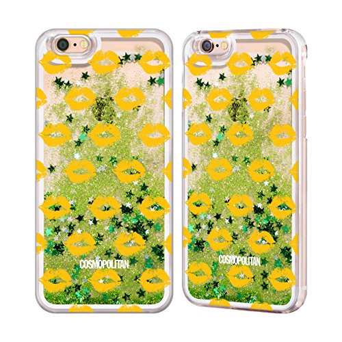 Official Cosmopolitan Gold Kiss Mark Green Liquid Glitter Case Cover for Apple iPhone 6 / 6s