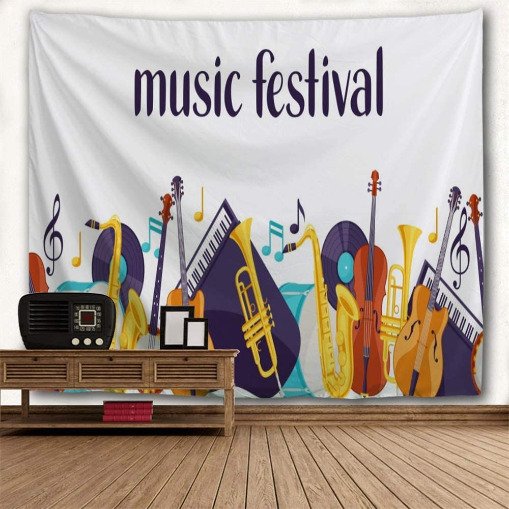 Tapestry Wall Hanging Music Festival Guitar Violoncello Piano Saxophone Note Mustard Lavender Turquoise Brown Wall Tapestry Spring Fall Home Decor for Bedroom Living Room Premium Peached Material