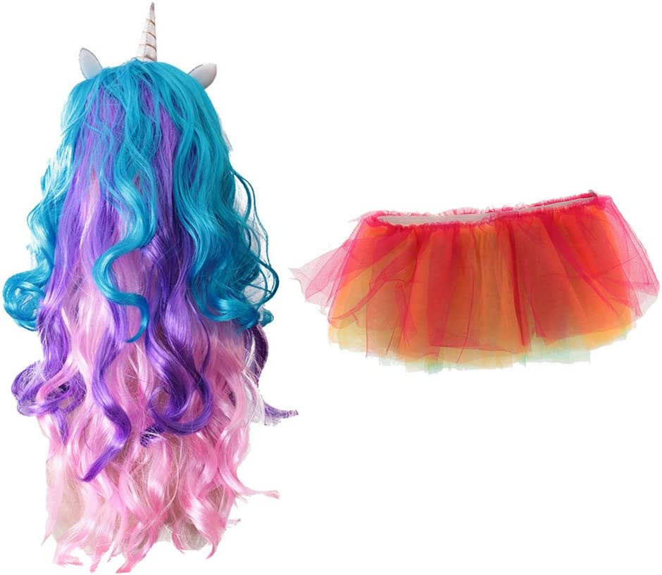 Riccia homyl Magia Unicornio peluca larga + Arcoíris LED ...