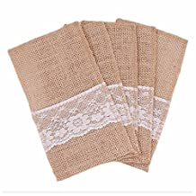 GOOTRADES Hessian Burlap Lace Wedding Cutlery Holder Pouch Rustic Decorations Favor (30)
