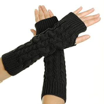 90585f0a7fabe Flammi Women s Cable Knit Arm Warmers Fingerless Gloves Thumb Hole Gloves  Mittens (Black)