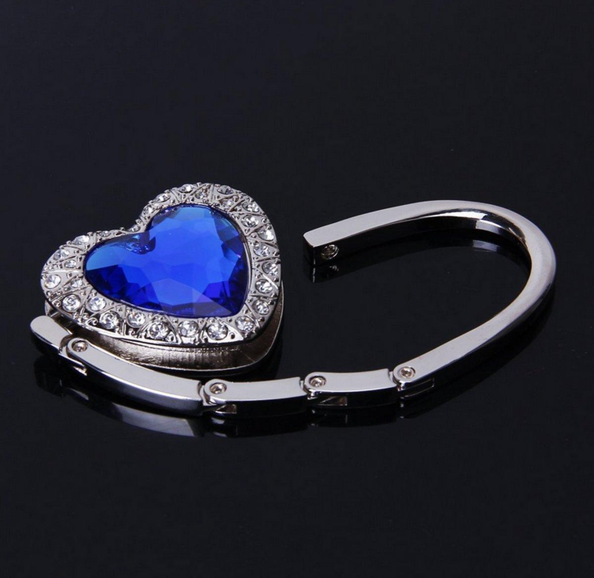 Neutral 1 Piece Blue Heart Designed Shoulder Handbag Folding Purse Holder Hangers Hooks