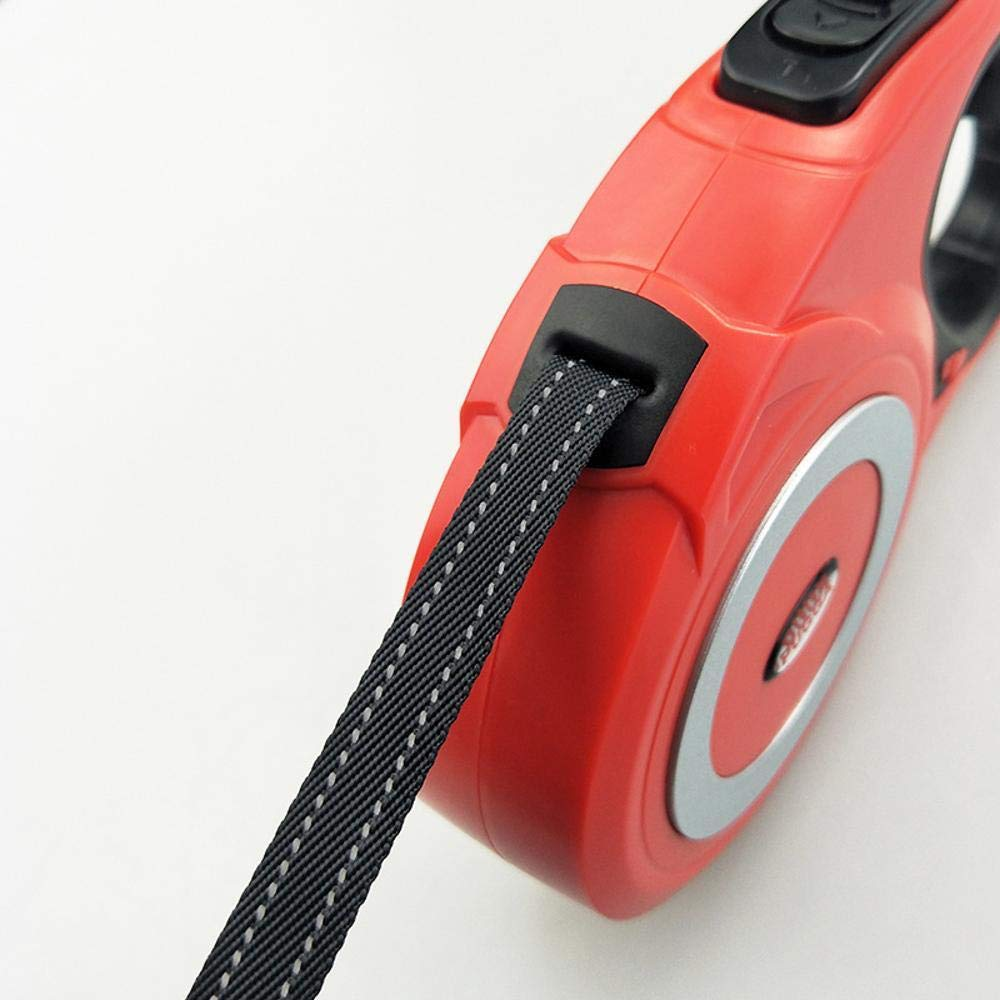 Red ((5 m flat) lp Pet Retractable Dog Chain Traction Rope Large Dog Reflex Walking Dog Traction Belt