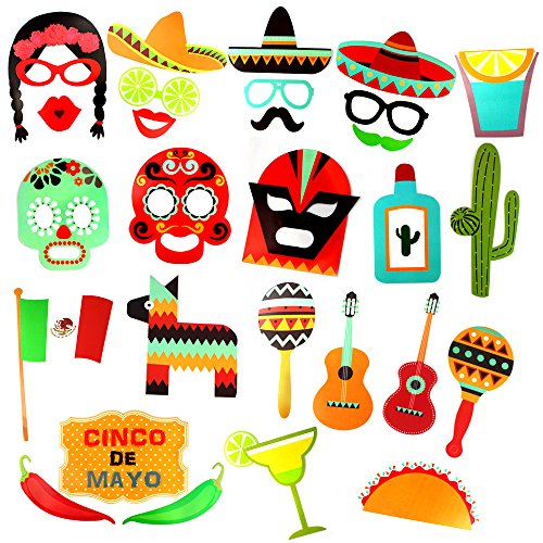 Mexican Party Supplies, Cool Photo booth Props DIY Kit Funny Mexico Hat Sticker Party (Fun & Easy Diy Halloween Craft Ideas)