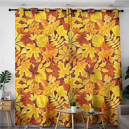 BE.SUN Curtains for Bedroom,Autumn,Shady Fall Oak Maple Leaf,for Bedroom Grommet Drapes,W84x108L