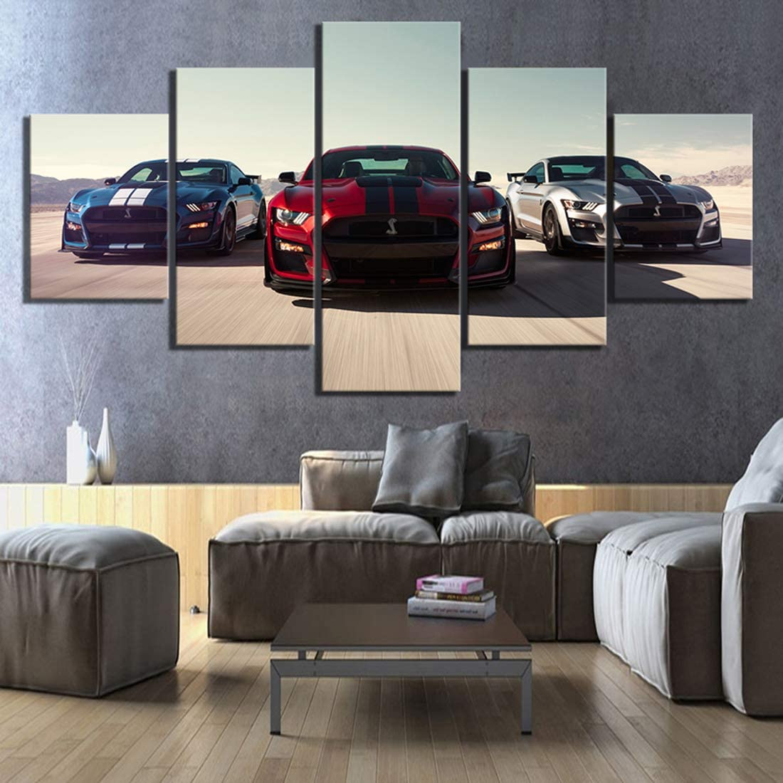 HSART 5 Pieces HD Luxury Cars Pictures Print Ford Mustang Shelby Gt500 Poster Canvas Art Decorative Paintings for Home Decor Wall Art,B,40x60x2+40x100x1+40x80x2
