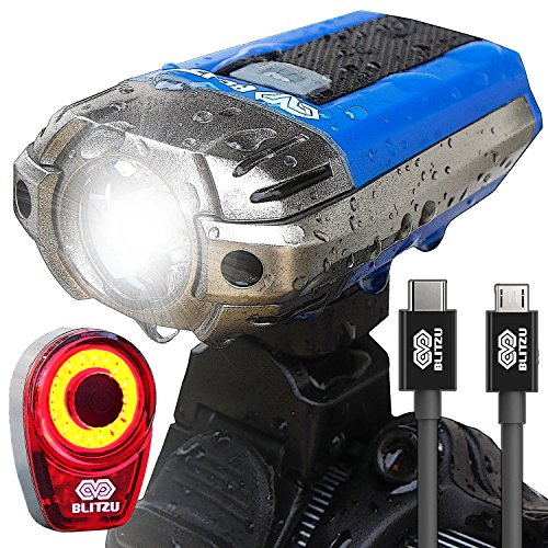 blitzu-gator-390-usb-rechargeable-led-bike-light-set-bicycle-headlight-front-light-free-rear-back-tail-light-waterproof-easy-to-install-for-kids-men-women-road-cycling-safety-commuter-flashlight