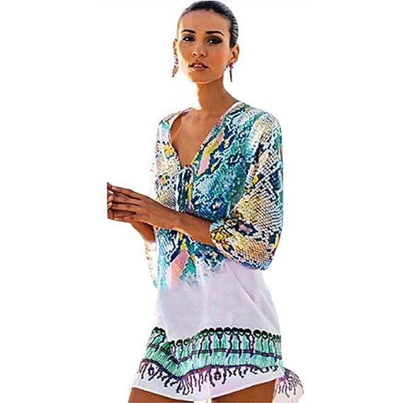 9217d6021ecd Mujer Vestido de Bohemia para Mujer Señoras Ropa de Playa de Verano ...