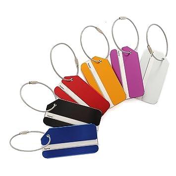 M.Q.L. bolso de equipaje de viaje Equipaje etiquetas maleta aluminio metal Etiqueta identificacion Identificar Private tags etiquetas 6 colores diferentes ...