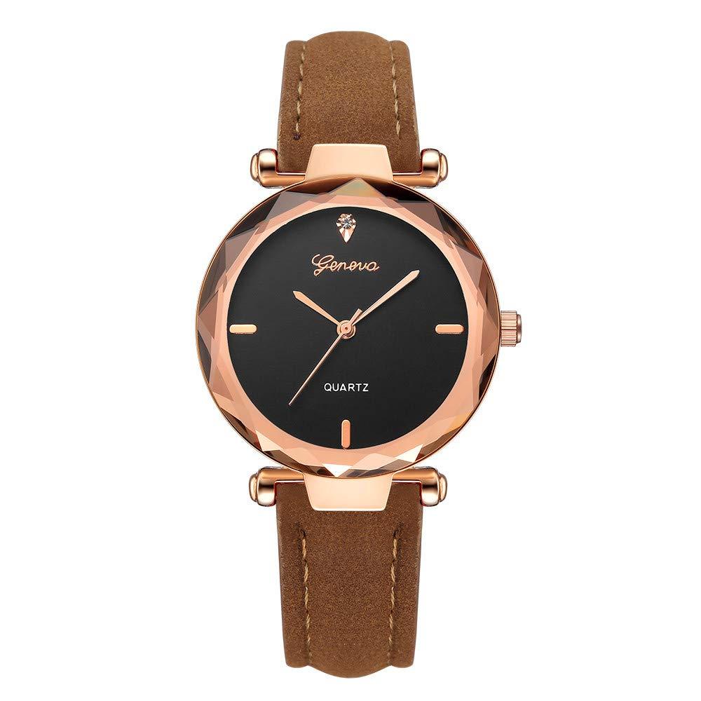BBestseller Moda Relojes para Mujer, Cuero PU Acero Reloj de Ginebra Relojes de Pulsera Accesorios de Moda Watches (Marrón): Amazon.es: Relojes