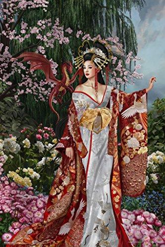 Geisha Dragon by Nene Thomas Art Print Poster (Nene Thomas Fantasy Art)