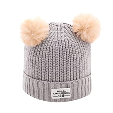 586fa4498cb Xshuai Baby Hat for 2-8 Years Old Kids Fashion Newborn Infant Toddler Cute  Winter Warmer Ball Cap Baby Girl Boy Letter Hats Knitted Wool Hemming Hat   ...