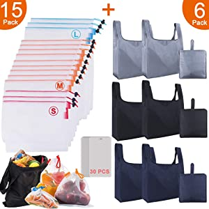 21 Pack Reusable Grocery Bags Mesh Produce Bags Set, Foldable Shopping Bags Grocery Bags Reusable Shopping Tote Bags with Inner Pocket, Eco Friendly See-through Produce bags Mesh Bags for Vegetables