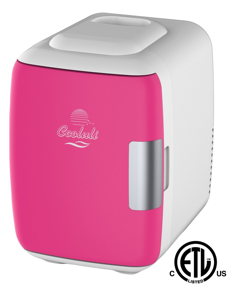 Cooluli Mini Fridge Electric Cooler and Warmer (4 Liter/6 Can): AC/DC Portable Thermoelectric System w/Exclusive On the Go USB Power Bank Option (Fuchsia)