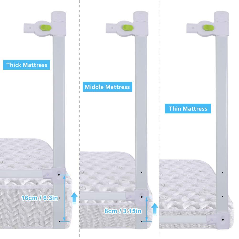 Baby barandillas de cama cuna rejilla caso de protecci/ón 68/cm 200/cm Cama plegable blanca rejilla
