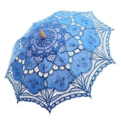 Topwedding Handmade Battenburg Lace Embroidered Wedding Umbrella Parasol, Blue (Handmade Umbrella)