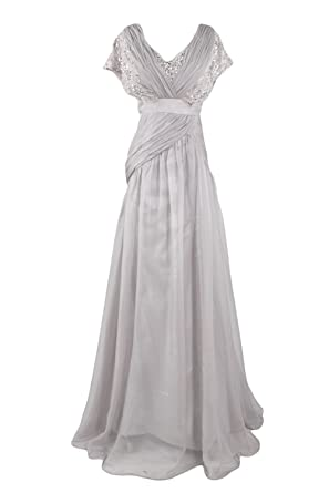 Amazon Sunvary Dignified Lace And Chiffon Mother Of The Bride Dress Long Silver Clothing