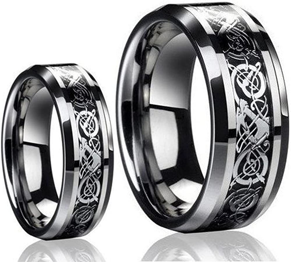 Irish Claddagh Celtic Ring Tungsten Ring Mens Engagement Band Engraved Ring Personalized Ring 10mm Dome 2 Tone Men/'s Tungsten Ring Gold