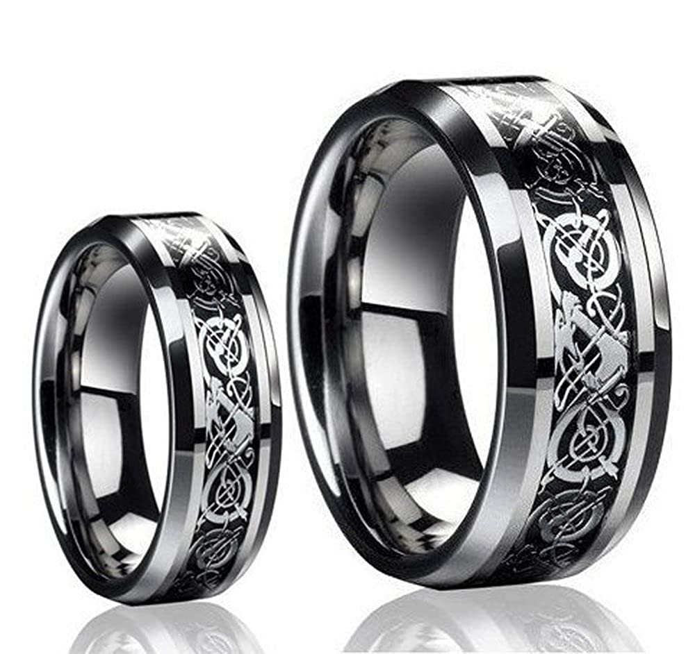 ring tungsten jewellery carbide blue gnexleds queenwish dragon wedding band black statement celtic engagement rings from mens silvering matching product
