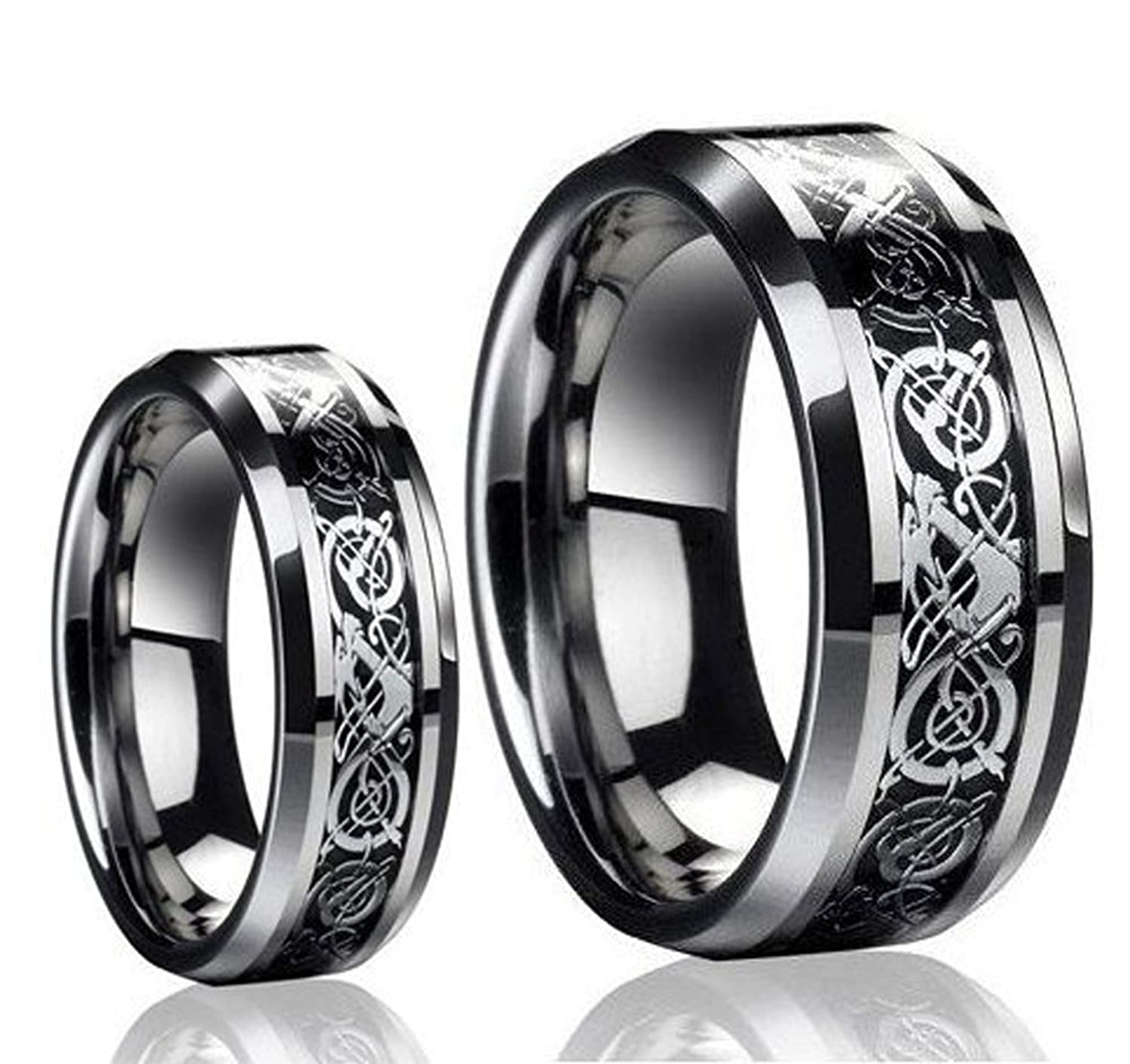 Amazon His & Her s 8MM 6MM Tungsten Carbide Celtic Knot