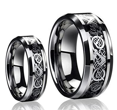 His Hers 8MM 6MM Tungsten Carbide Celtic Knot Dragon Carbon Fiber Inlay Wedding