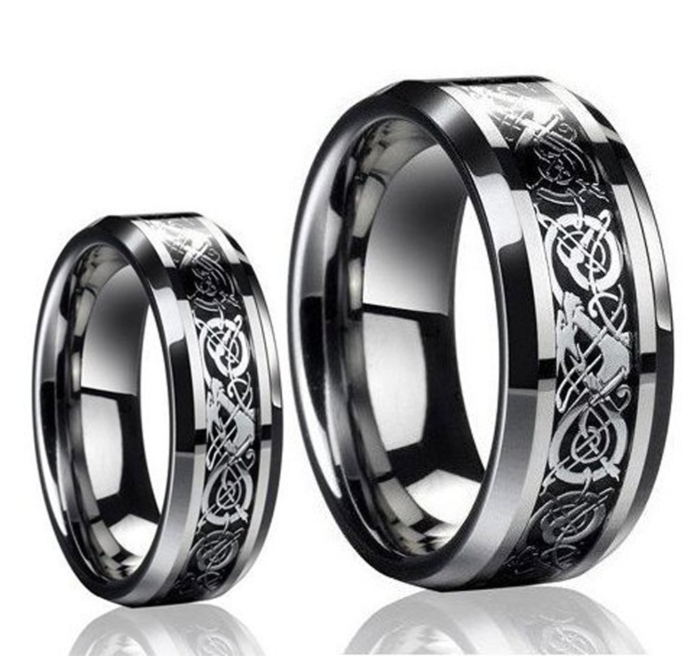 His & Her's 8MM/6MM Tungsten Carbide Celtic Knot Dragon and Carbon Fiber Inlay Wedding Band Bridal Ring Set